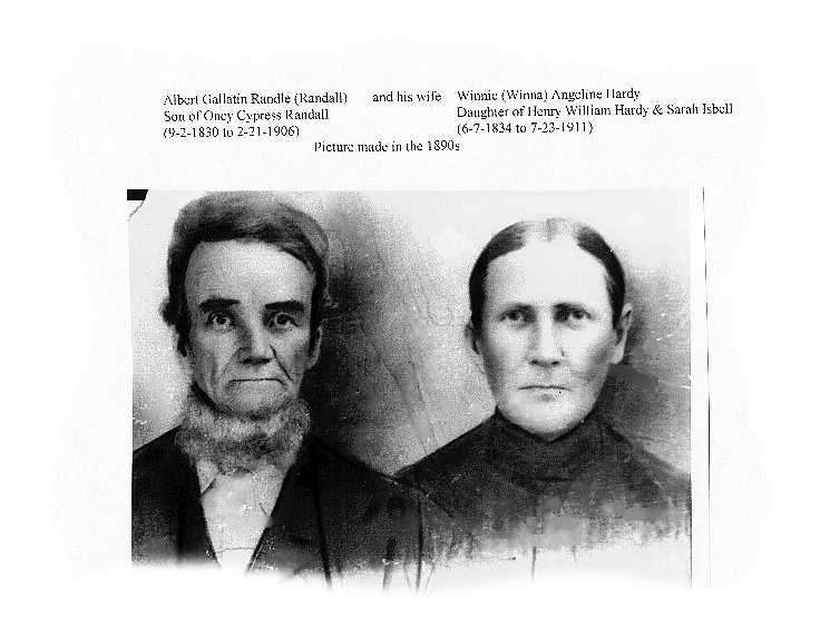 Albert Gallatin Randle with his wife Winnie Angeline Hardy-Randle.